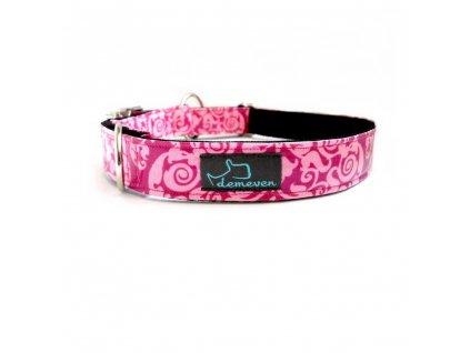 Elinor Obojky pro psy obojek krasny stylovy designovy demeven s kovovou sponou dog collar beautiful stylish pink violet ruzovy fialovy psi obojek