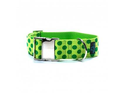 Gemini XL obojek pro psa siroky 5cm s kovovou sponou krasny pro velka premena dogu vlkodav staford dog collar demeven metal buckle green zeleny