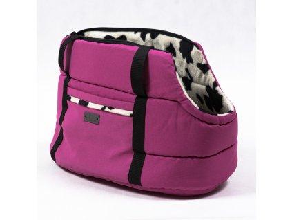 vyr 224ruzova strakata cerna taska pro psy kocky taska na rameno stylova luxusni zateplena s poutkem demeven