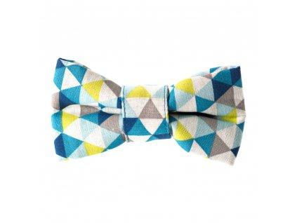 Triangle motylek na obojek pro psa svatecni stylovy modry zeleny
