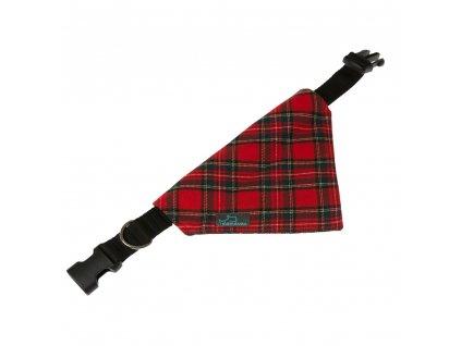 Marion satek pro psa na obojek stylovy cerveny skotska kostka vanocni svatecni
