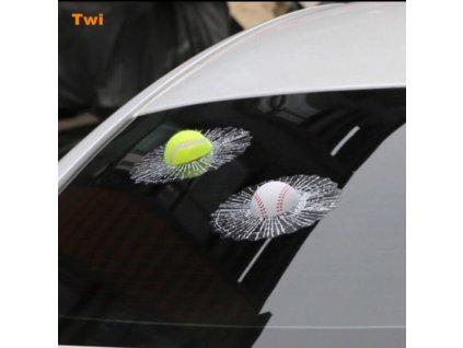 3D Samolepka - rozbité sklo (Varianta Tennisový míček)