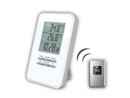 15029 2 solight bezdratovy teplomer teplota cas budik bily