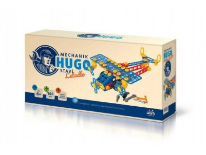 Mechanik-Hugo-stavi-Letadlo-Seva-stavebnice-s-naradim-144ks-plast-v-krabici-31x16x7cm-na-Deminas