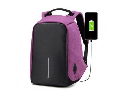Bezpecnostni-batoh-s-USB-nabijeckou---fialovy-na-Deminas