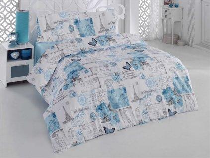 Povleceni-francouzske-bavlna-200x200,70x90-Paris-modra,-Vyber-zapinani:-na-Deminas