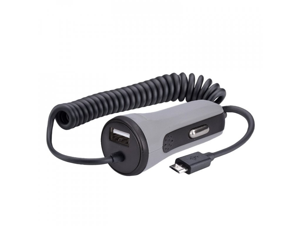 15545 Solight USB Nabíjací autoadaptér 1x usb 1x micro usb kábel 3400ma max dc 12 24v čiernošedej