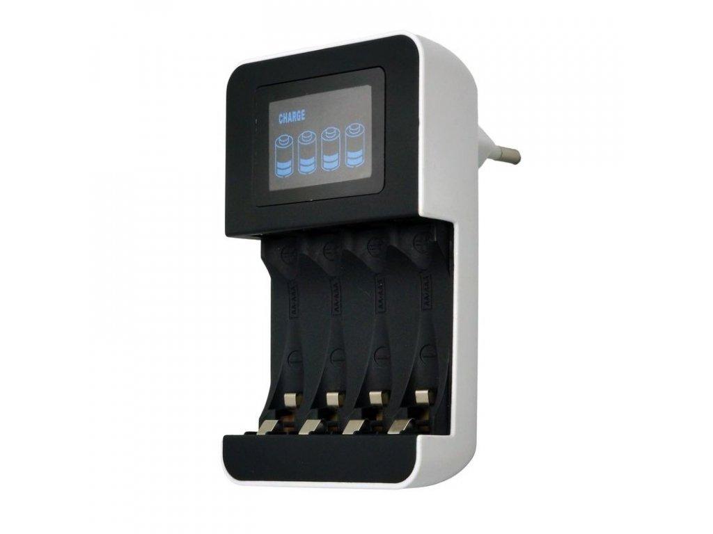 15161 2 Solight nabíjačka s lcd displejom ac 230v 450mA 4 kanaly aa aaa riadený mikroprocesorom