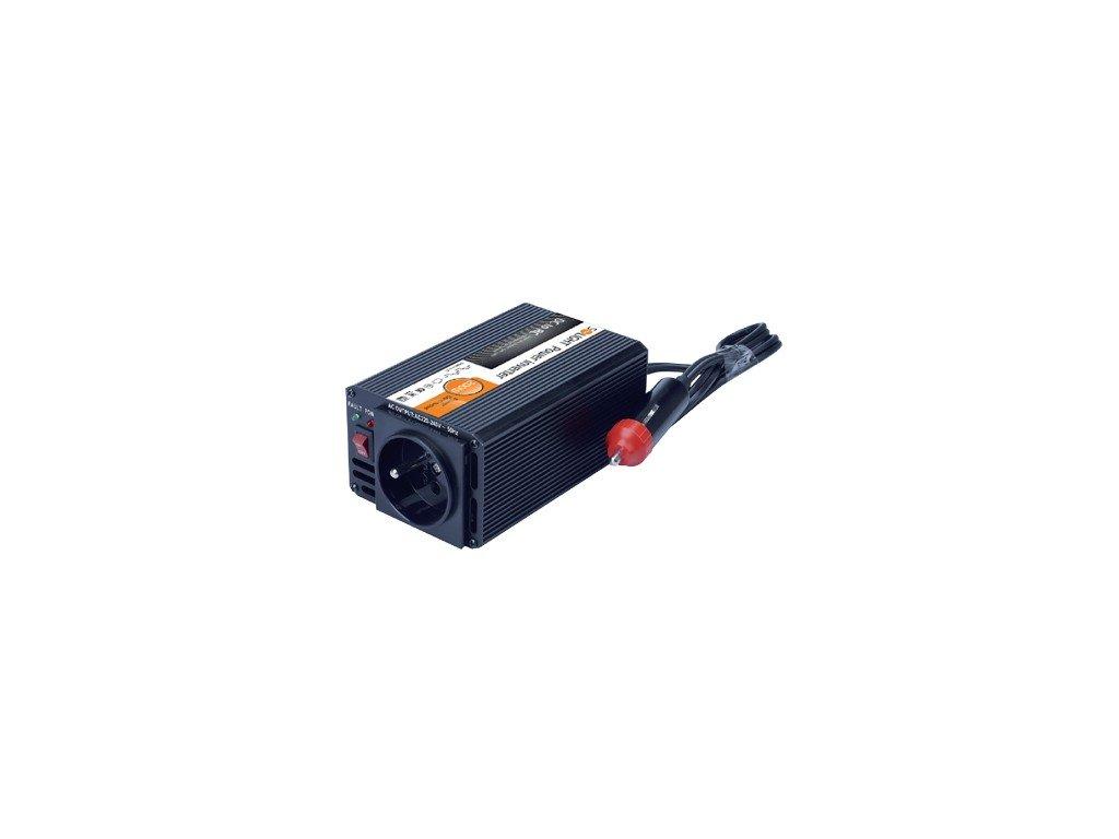 15086 2 Solight invertor 12v usb 500mA kovovy cierny max zaťaženie 200w