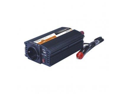 15089 2 Solight invertor 12v usb 500mA kovovy cierny max zaťaženie 300w