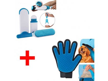 Samočistiaci odstraňovač chlpov + vyčesávacia rukavica srsti pre psy a mačky