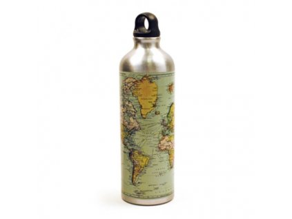 fľaša na vodu s mapou sveta