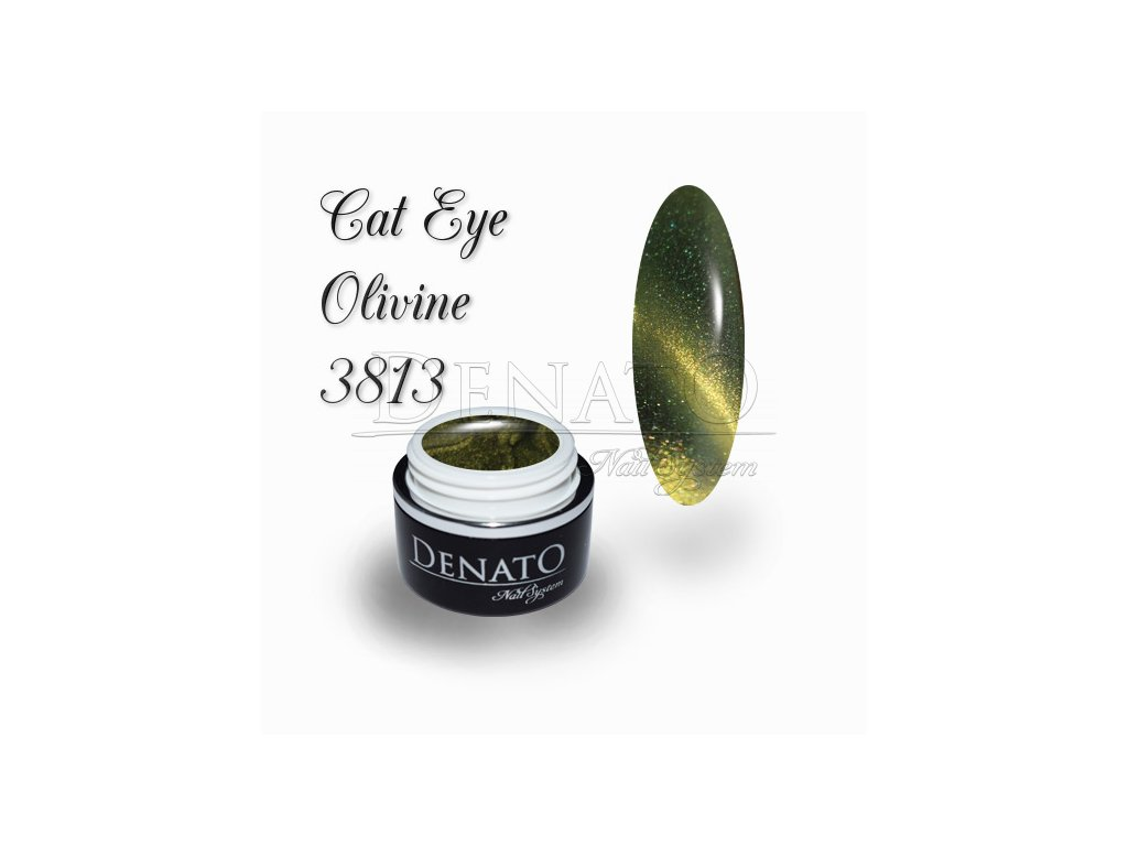3813 CAT EYE Olivine barevný UV LED gel zeleno zlatý