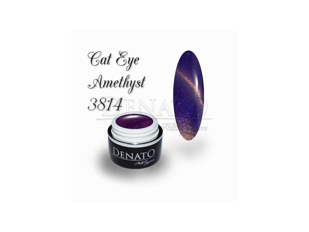 3814 CAT EYE Amethyst barevný UV LED gel fialovo zlatý
