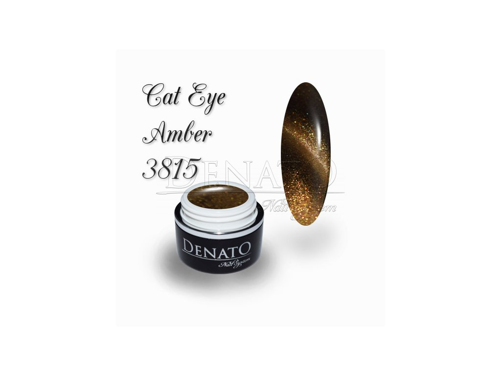 3815 CAT EYE Amber barevný UV LED gel hnědo zlatý