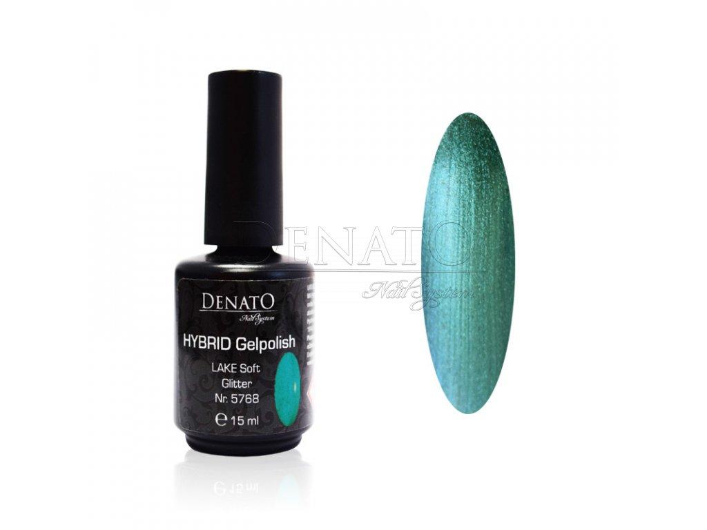 5768 Hybrid Gelpolish LAKE Soft Glitter zeleno modrý uv led gel 15 ml