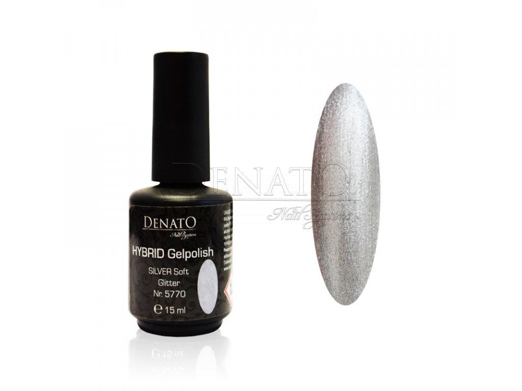 5770 Hybrid Gelpolish silver soft glitter stříbrný glitrový uv led gel, 15 ml