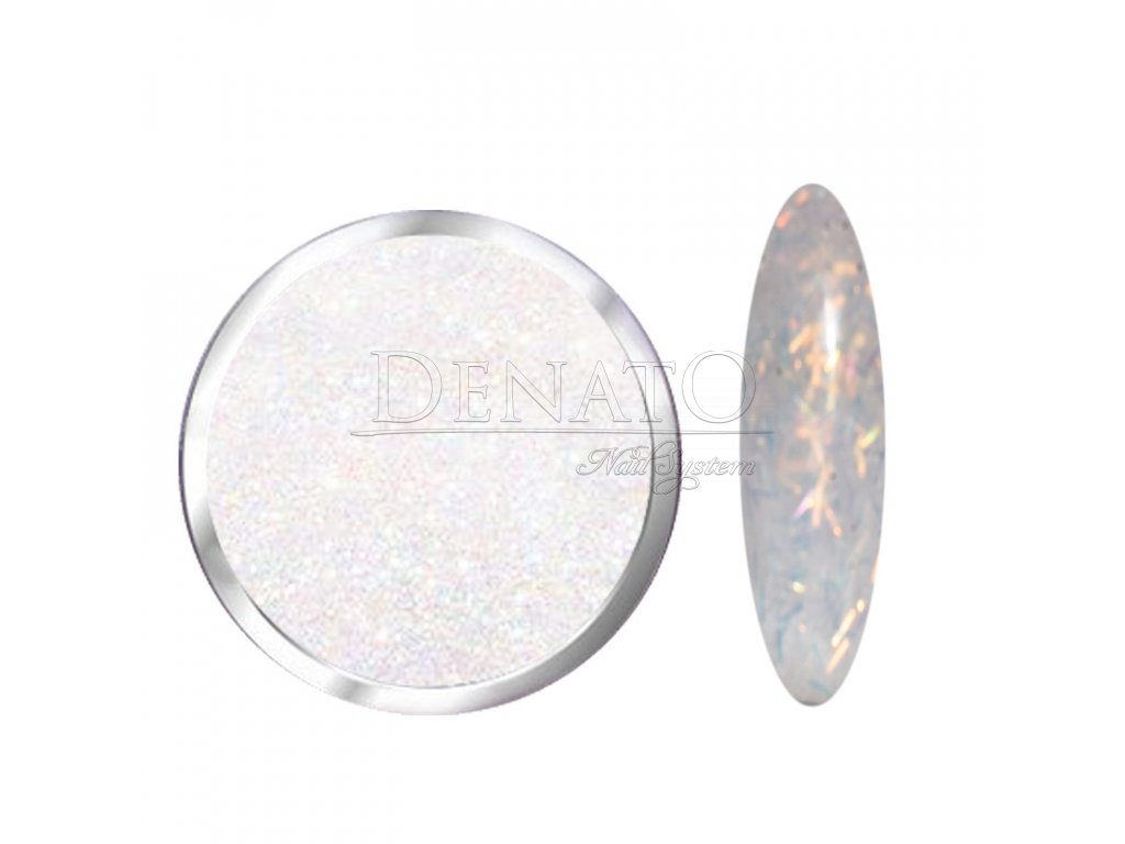 1702 Rainbow, glitrový bílý polymer