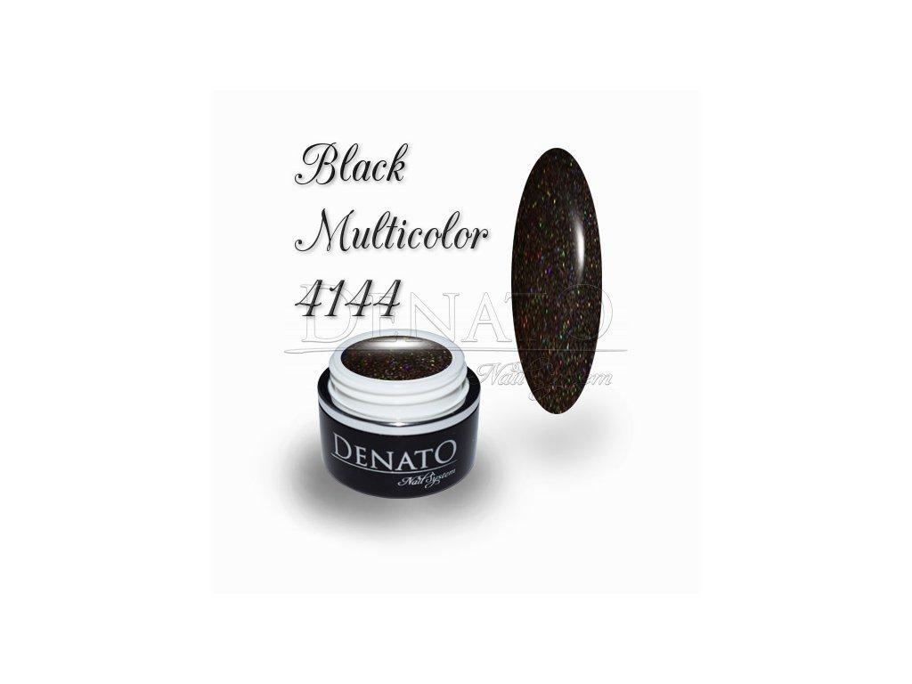 4144 Black Multicolour barevný uv led gel černý glitrový