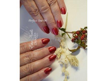 PF06 Perfect Line 06 barevný uv led gel bezvýpotkový oranžovo červený.perleťový