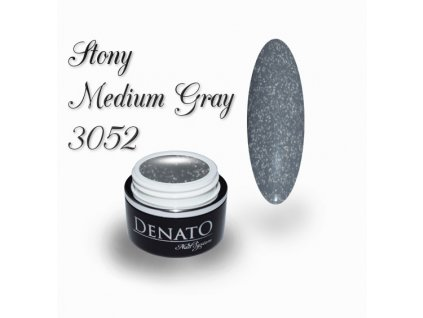 3052 Stony Medium Gray barevný glitrový uv led gel šedý