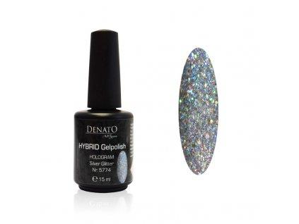 5774 Hybrid gelpolish Hologram silver holografický stříbrný glitrový uv les gel 15 ml