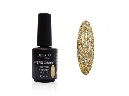 5775 Hybrid gelpolish Prosecco gold glitter zlatý glitrový uv led gel 15 ml