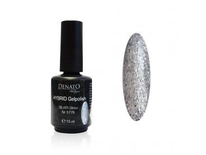 5776 Hybrid gelpolish silver stříbrný glitrový uv les gel 15 ml