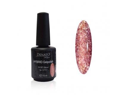 5777 Hybrid gelpolish Rose Glitter uv led gel růžový glitrový 15 ml