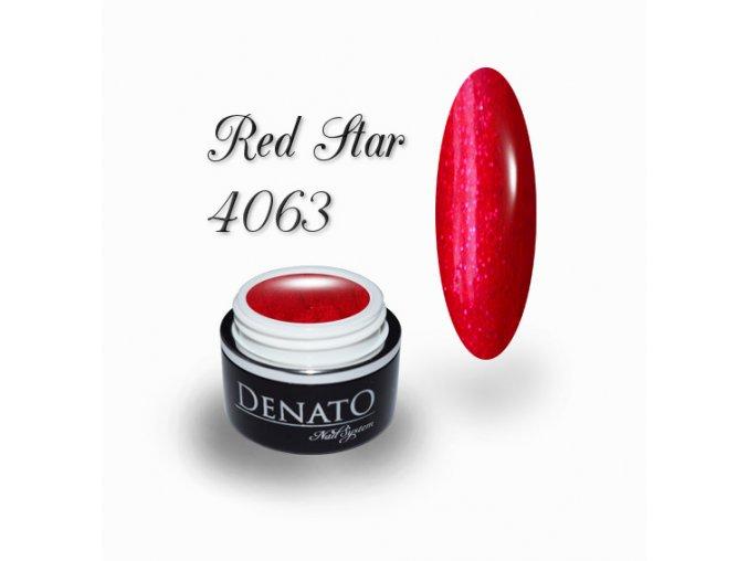 4063 Red Star barevný glitrový uv led gel červený jpg