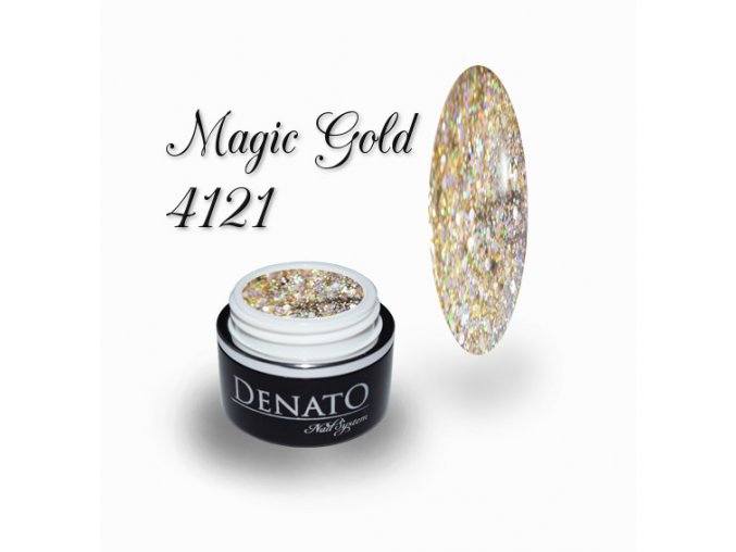 4121 Magic Gold barevný uv led gel glitrový zlatý