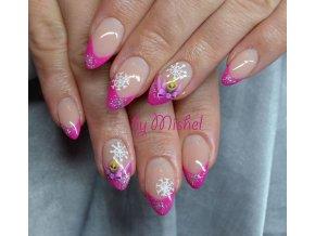 5044 Diamond Fuchsia, barevný uv led gel s diamantovým efektem, růžový