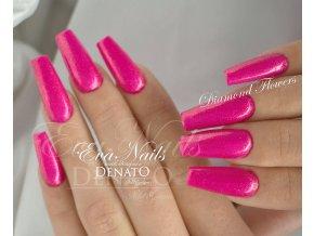 5033 Diamond Flowers, barevný uv led gel s diamantovým efektem, růžový