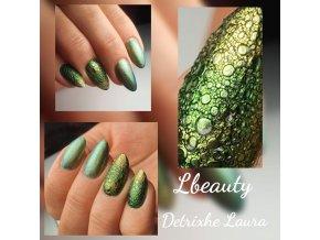 3134 Noble Green Opal, perleťový barevný UV led gel zelený