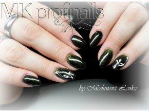 4141 Black Green Gold, barevný glitrový efektový barevný gel