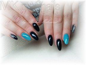 4142 Black Blue, barevný glitrový efektový barevný gel