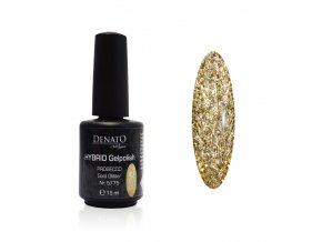 5775 Hybrid gelpolish Prosecco gold glitter zlatý glitrový uv led gel 15 ml