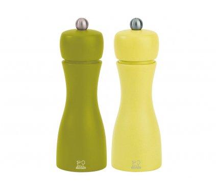 Mlýnky TAHITI SET na sůl a pepř 15 cm, bukové dřevo - oliva/pistácie, Peugeot