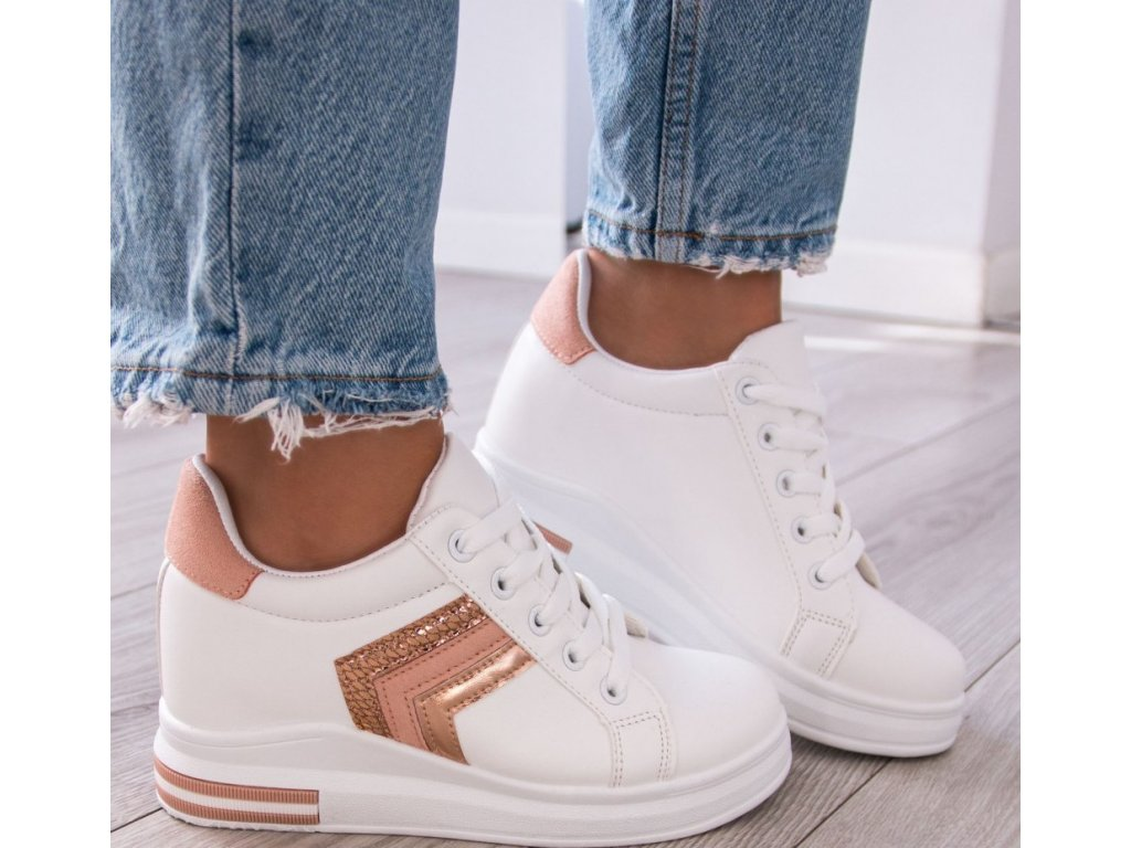 trampki sneakersy na koturnie bialo rozowe rubi