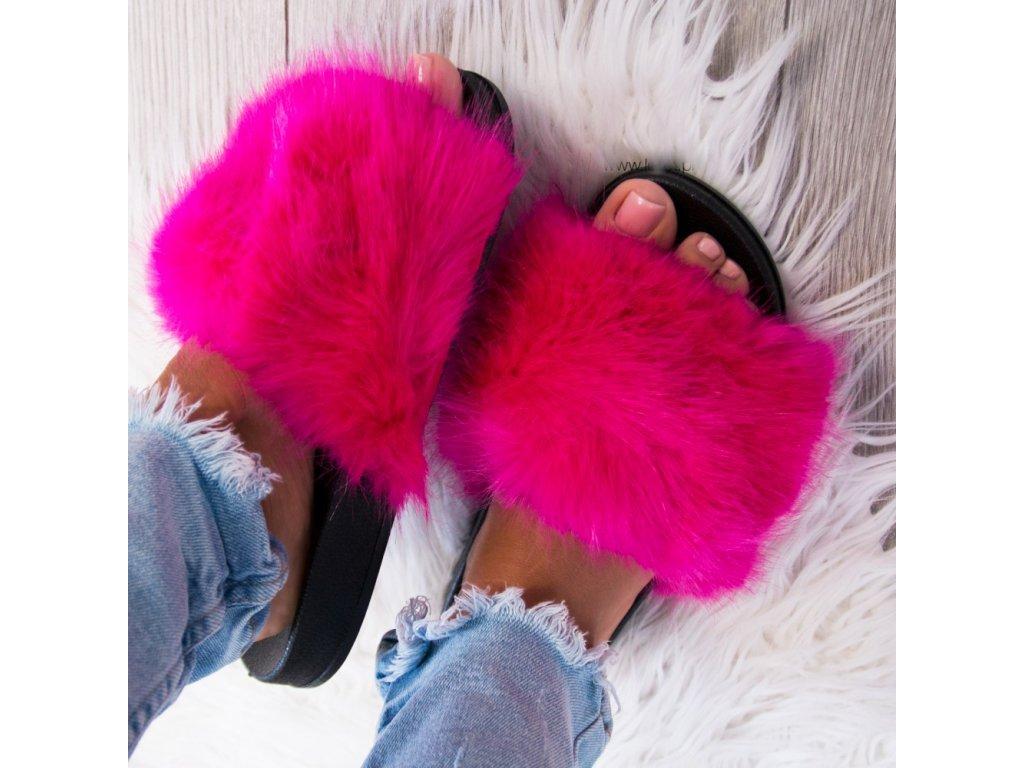 Dámské  chlupaté pantofle růžové