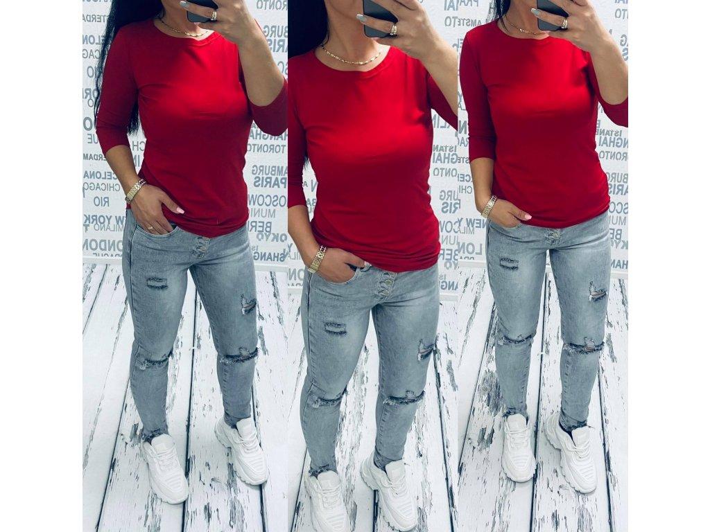 Dámské tričko BASSIC 3/4 rukáv červené