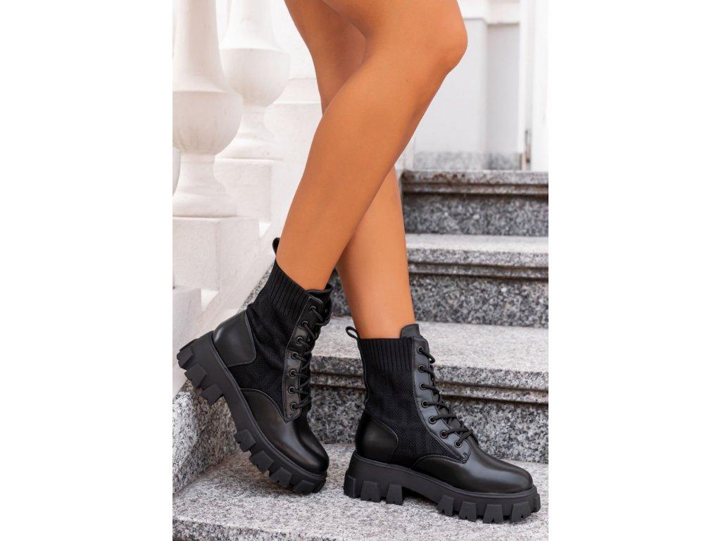 botki wiazane elastyczne czarne hafiaŮO