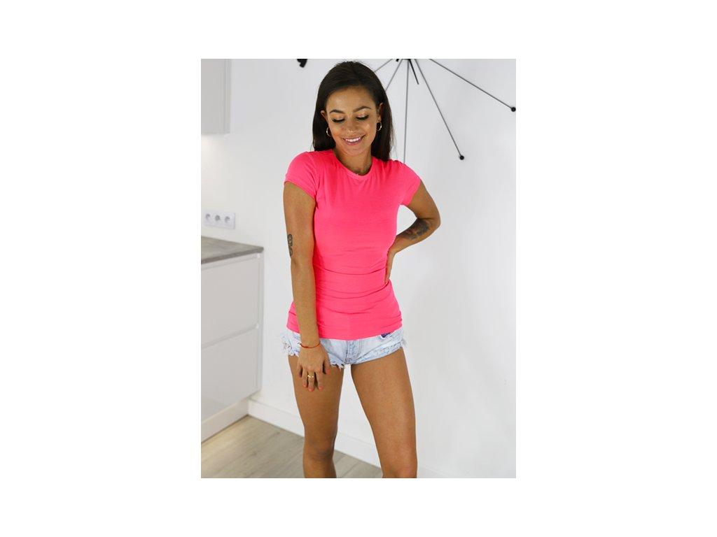 pol pm T SHIRT BAWELNIANA BLUZKA BASIC neon roz X23 4564 1