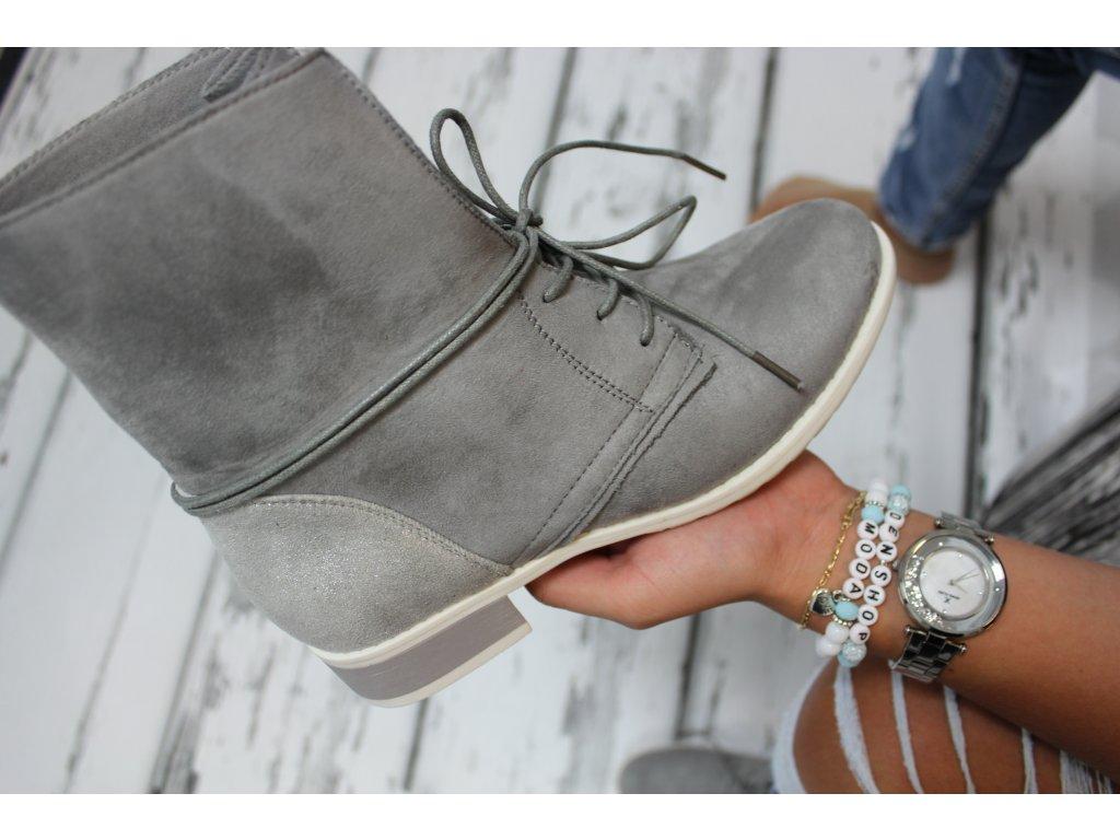 Šedé kotnikové boty MILA