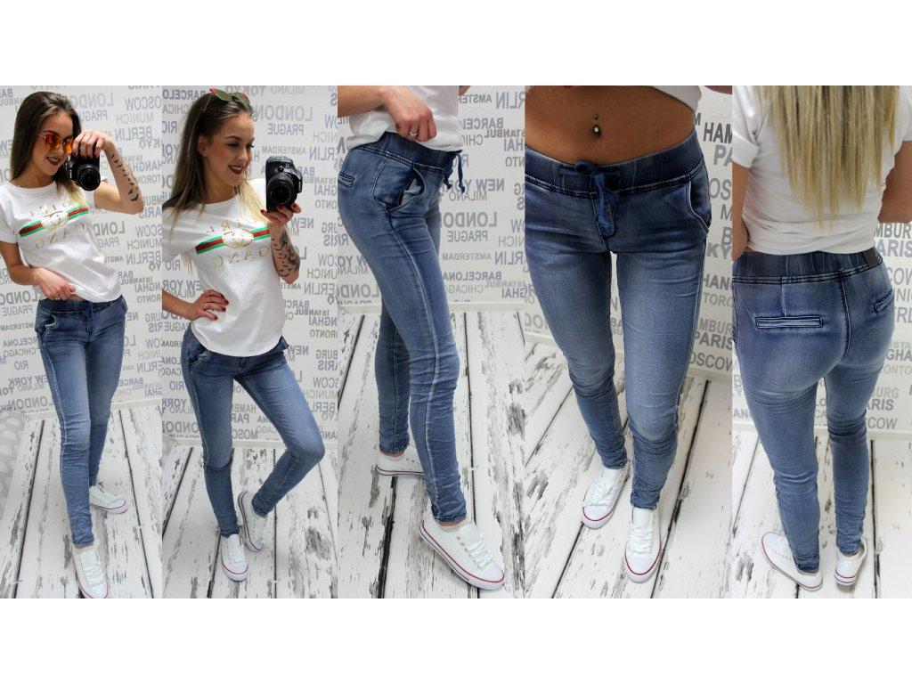 Dámské džíny s gumou v pase