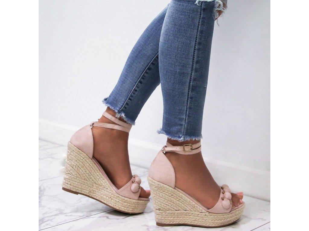 sandalki espadryle koturny zamszowe bezowe marie