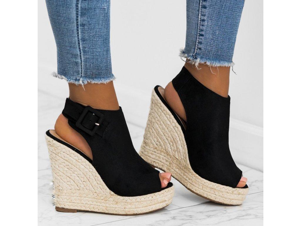 sandaly espadryle koturny czarne estieřžýu