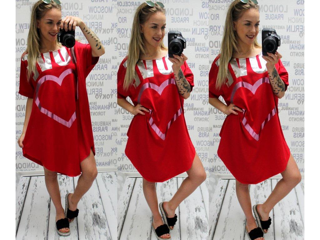 Dámské šaty love XL-XXL červené