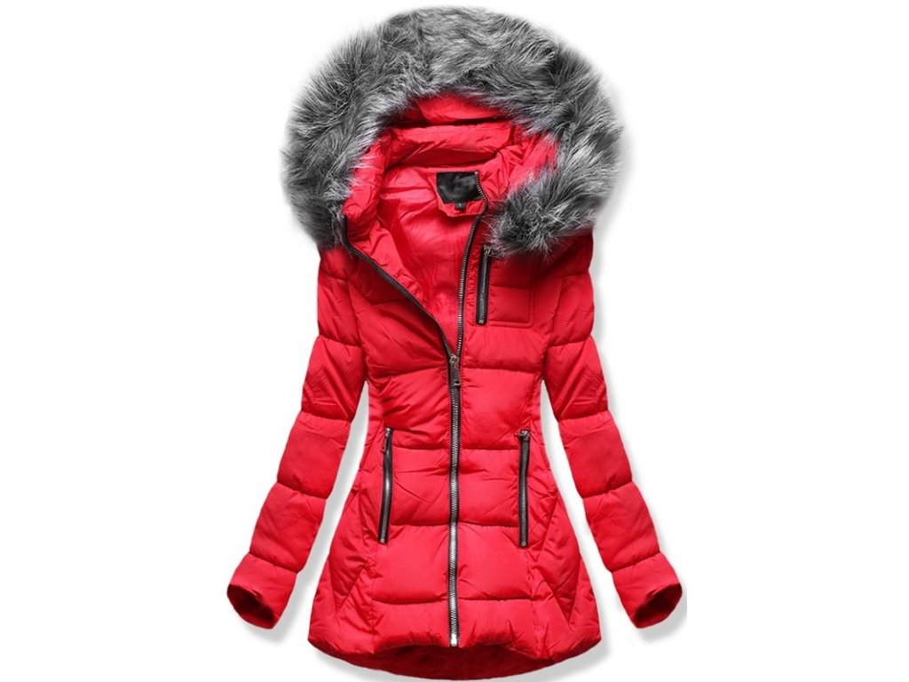 Dámská zimní bunda B9901 červená