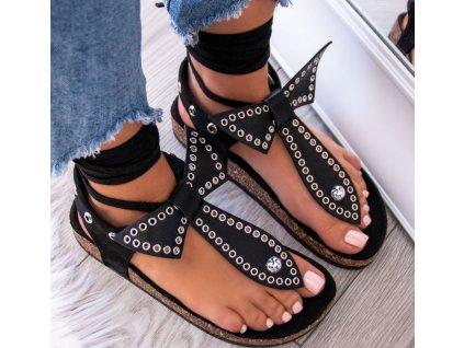 sandalki japonki zamszowe z cwiekami czarne abi